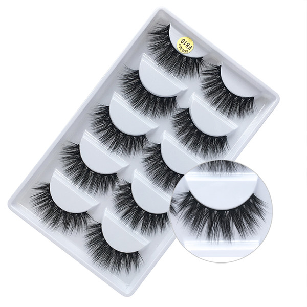 Brand New 5 pairs pack mink 3D hair false eyelashes hand-made reusable natural long thick mink fur hair lashes black cotton stalk DHL Free