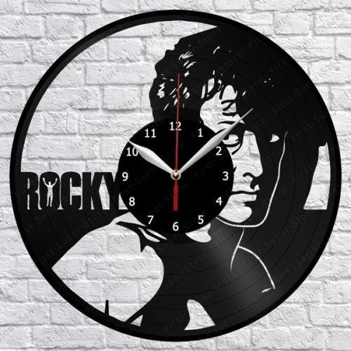 Rocky Music Vinyl Record Wall Clock Decor Fan Art Home Decor Handmade Art Personality Gift (Size: 12 inches, Color: Black)