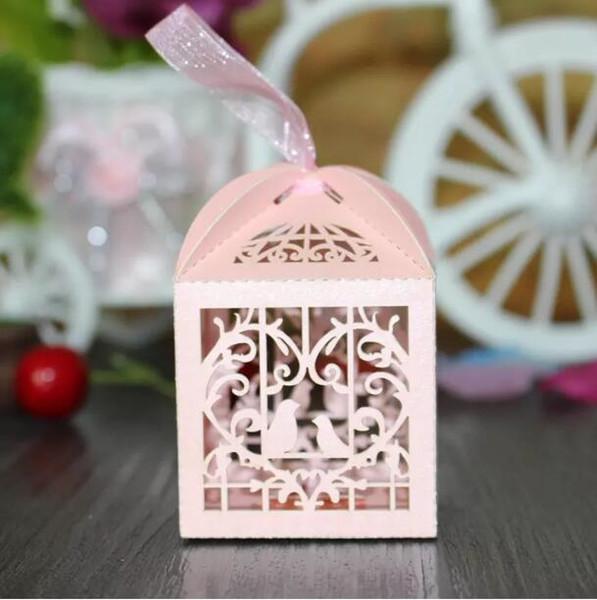 150pcs amore cuore bianco gabbia per uccelli piccolo regalo del laser caramelle scatole da sposa favore di partito con le borse di nastro decor rosa