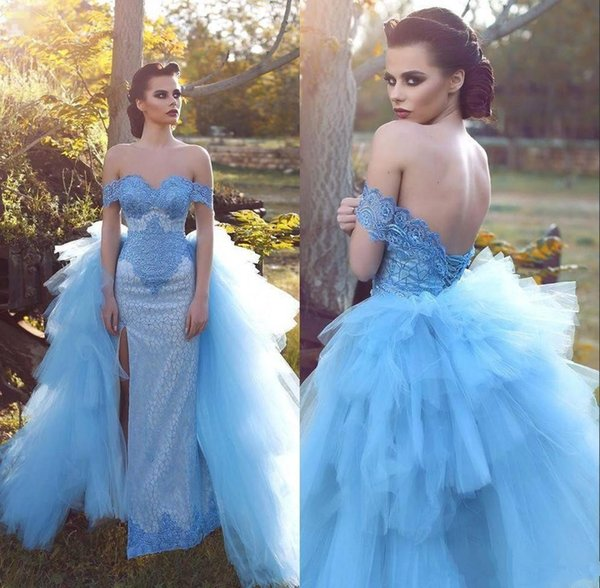 Sky Blue Ruffles Tulle Prom Dresses with Detachable Train 2018 Dubai Arabic Off Shoulder Split Full length Occasion Evening Gown