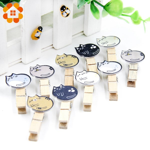 10pcs Wooden Cute Clips with Hemp Rope Photo Snacks Message Multifunction Lazy Cat Storage Clip Home Party Decoration Supplies