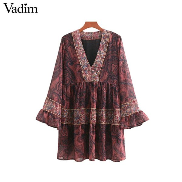 wholesale women vintage V neck floral chiffon dress chains decorate flare sleeve pleated ladies casual mini dresses vestidos QA587