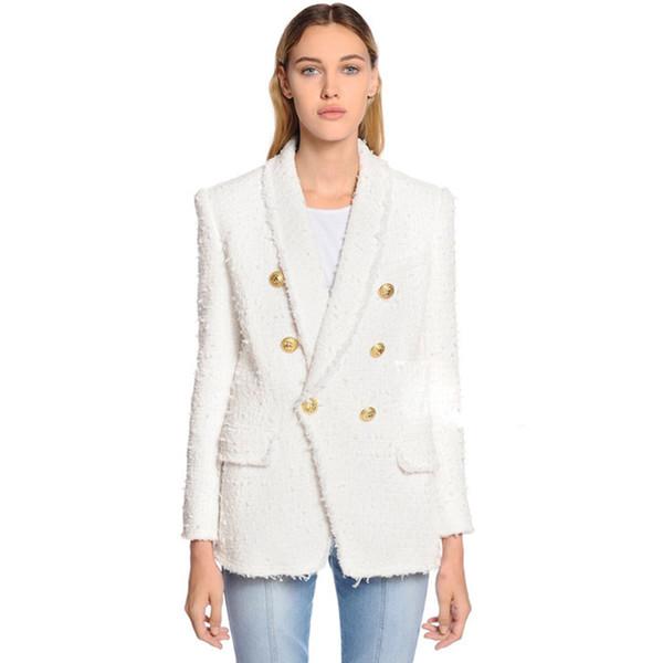 HAUTE QUALITÉ Nouvelle Mode 2018 Designer Blazer Femmes Col Châle À Double Boutonnage Lion Boutons Gland Tweed Veste Sur Manteau Y18110701