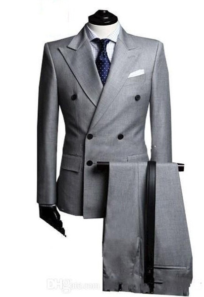 Brand New Light Grey Men Wedding Tuxedos High Quality Groom Tuxedos Double-Breasted Side Vent Men Blazer 2 Piece Suit(Jacket+Pants+Tie) 1377
