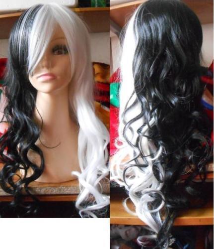 Cos Harajuku Lolita cosplay NEW black & white long curly wig
