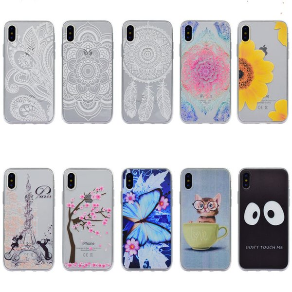 For iPhone X 8/7 6S/6 Plus SE/5S/5 Art Pattern Clear TPU Soft Slim Flexible Silicone Glossy Phone Case For Sony Xperia X Compact XA XZ Cover