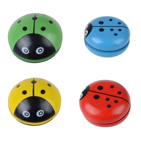 Vier Farben Marienkäfer Yo Ball Blau Grün Rot Gelb Marienkäfer YO Kreativspielzeug Holzspielzeug für Kinder 2018 Neu