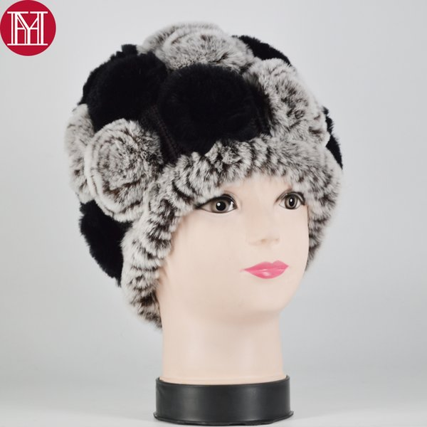 New Women Rex Rabbit Fur Knitted Hats Lady Winter Hats for Girls Skull Cap Real Fur Knitting Rabbit Skullies Beanies Female Hat