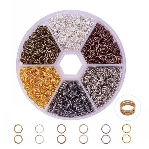 0.7x5mm Plated Open Jump Rings Kits with Jump Ring Open Tool for DIY Charm Jewelry Making Crafts 6 Colors D844L
