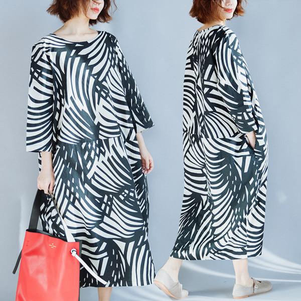 Plus Size 4XL 2018 Verão Moda Feminina Elegante Pintura Abstrata Encabeça Senhoras Femininas Grande Longo de Linho De Algodão Vestido Robe Vestidos