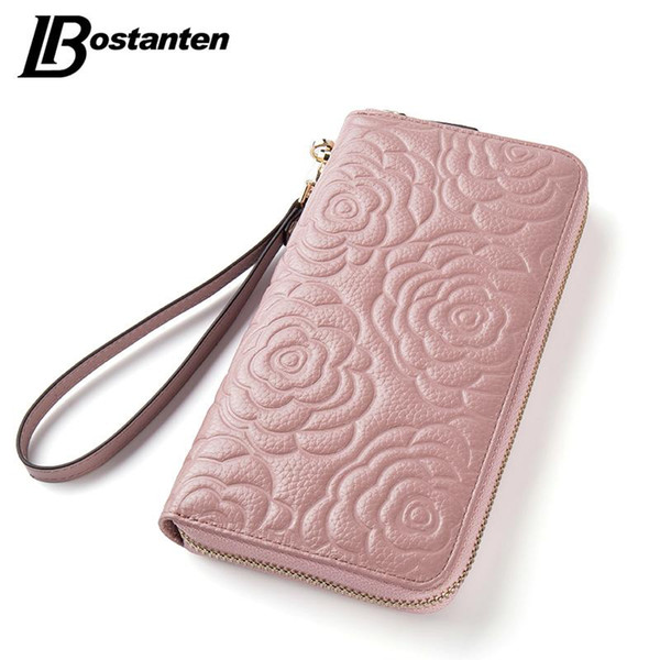 Wholesale- BOSTANTEN Floral Wallet Women Long Lady Clutch Wallet Large Genuine Leather Female Card Holder Wallets Coin Phone Purse Wristlet