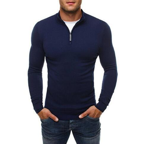 Generic Mens Long Sleeve Turtleneck Zip up Pullover Knit Casual Sweater