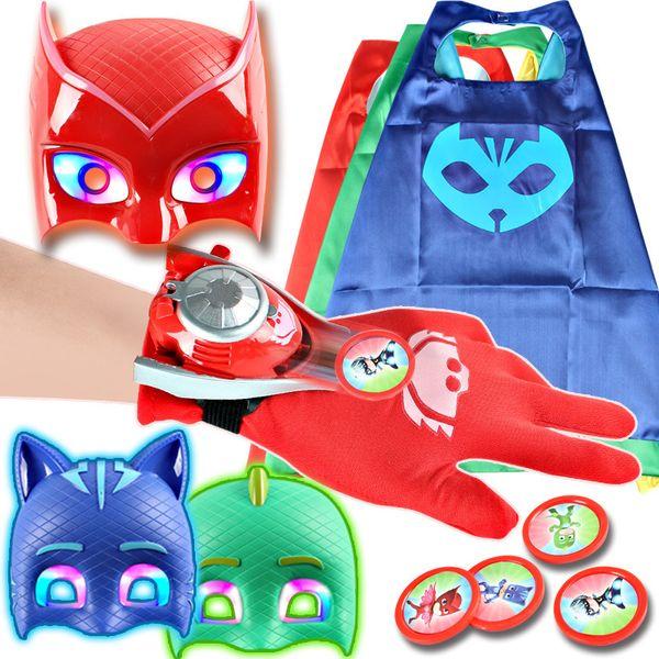 PJ MASKS Kids Supermen Constume Set Masks+Cloak+Gloves+Watches 4PCS SET Connor/Greg/Amaya Mask Cloak Gloves Watches for children HD1
