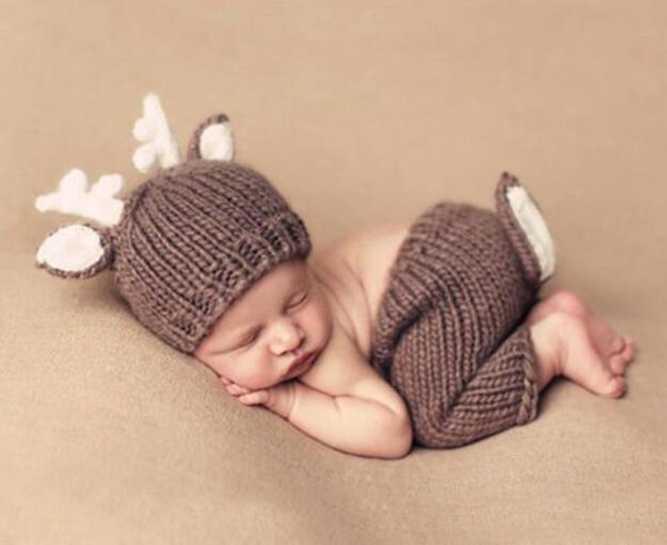2121ded30 2019 Fashion Newborn Baby Photo Props Outfit Costume Deer Knit Hat Pant Set  Infant Phography Shoot Accessory PZ002 From Shinebebe, $14.02 | DHgate.Com