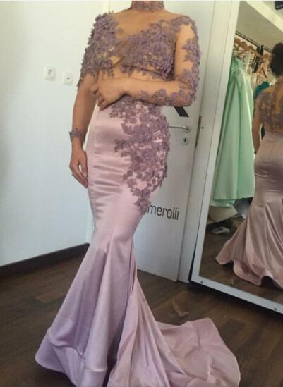 Evening dress Labourjoisie Long Dress Long Sleeve Pink Applique Mermaid High Collar Zuhair murad Kim kardashianewelueigh