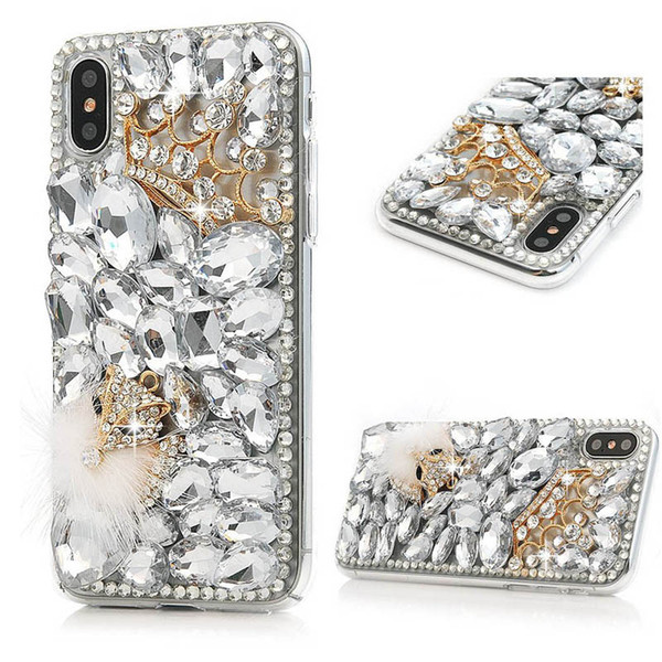 For iPhone XS Max Diamond FOX Fur Case Crystal Bling Rhinestone Cases For iPhone XR X 7 8 Plus 6 6S Plus Luxury Stone Capa Cover