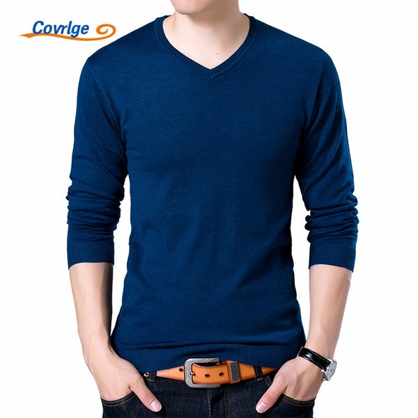 Covrlge Mens Sweaters 2017 Autumn Winter New Sweater Men V Neck Solid Slim Fit Men Pullovers Fashion Male Polo Sweater MZM004 D1892901