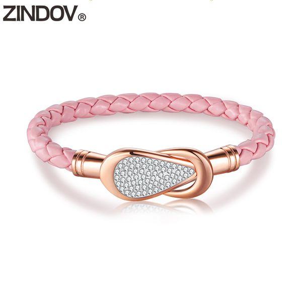 ZINDOV Women Leather Bracelet Stainless Steel Pink Black White Blue Crystal Rose Gold Bracelet Bangle Female Fashion Jewelry Hot