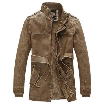 Leather Jacket men's long wool leather Standing Collar Jackets Coat Warm Outwear parka mens PU leather jackets and coats