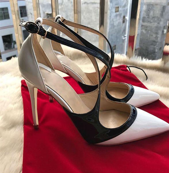 2018 Nuevo Diseñador de Lujo Nueva Red bottom Charol Sexy Fashion 8 cm / 10 cm / 12 cm Tacones Altos Señoras Calzado Mujeres bombas zapatos