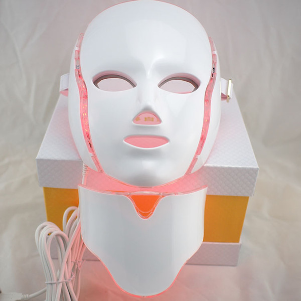 7 color LED light Therapy face Beauty Machine LED Facial Neck Mask With Microcurrent for skin whitening device dhl free shipment