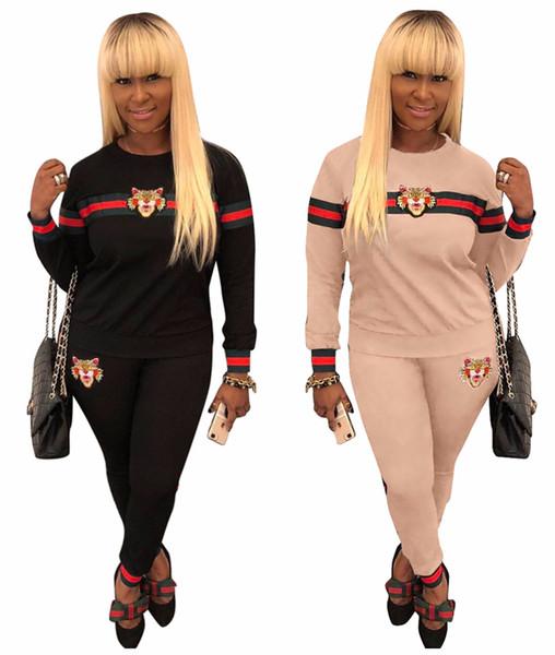3XL Mode Zwei Stücke Set Frauen Tiger Kopf Casual Set Trainingsanzug Kleidung Rot Gestreiften Langen Ärmeln Lange Hosen Femme Damen Outfits