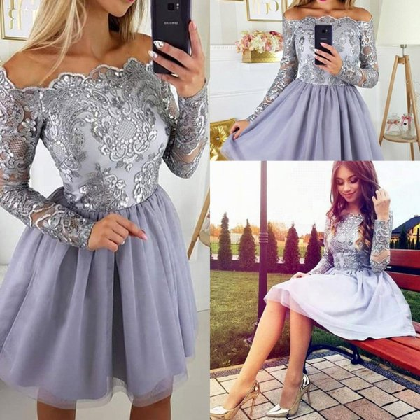 Vintage Long Sleeves Lilac Lavender Short Homecoming Dresses Appliques Chiffon Skirt Knee Length Prom Cocktail Gowns For Teens BA9972