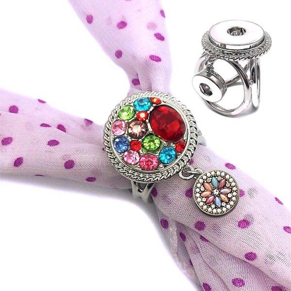 cristallo Bohemia Intercambiabile 001 Moda Fiori Fit 18mm con bottone a pressione Sciarpa con fibbia Clip di sciarpa per le donne regalo dei monili del braccialetto