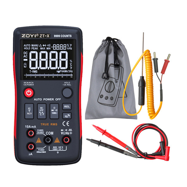 ZOYI Multimetro digitale per misuratore elettrico ZT-X 9999COUNTS Contatore a tre display ad alta definizione con barra analogica