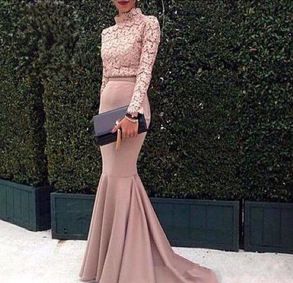 2018 Dubai Arabic Evening Dresses Lace Top High neck Long Sleeves Mermaid Prom Dress Fashion Pink Special Occasion Dress Custom Made