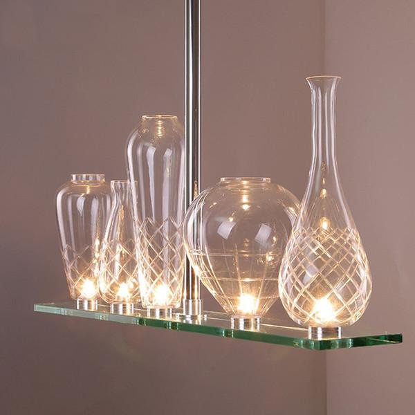 LED Crystal Glass Chandelier Modern Bottle Pendant Lamps Restaurant Bedroom  Lamp Bar Living Room Lamps Pendant Lighting Kitchen Clear Glass Pendant ...