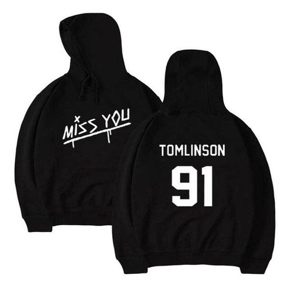 Louis Tomlinson 91 Harajuku Hoodie One Direction Streetwear Hip Hop Black White Pink Hooded Hoody Womens Hoodies and Sweatshirts