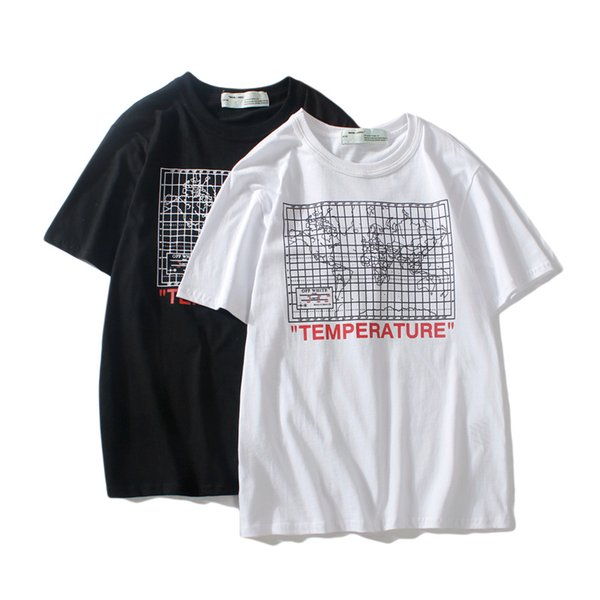 New Fashion Off map printing Couples Lovers pure cotton T-shirt Short Sleeve Men women Hip Hop Street Style ow Tees Shirt