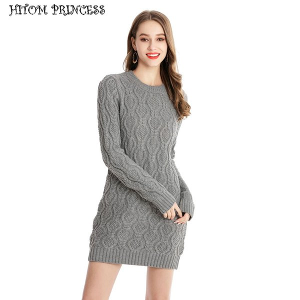 HITOM PRINCESS Winter Warm Sweater Dress Long Sleeve Knitted Dress Women  Plus Size Slim Bodycon Pullover Autumn Dresses 79b2d2865984
