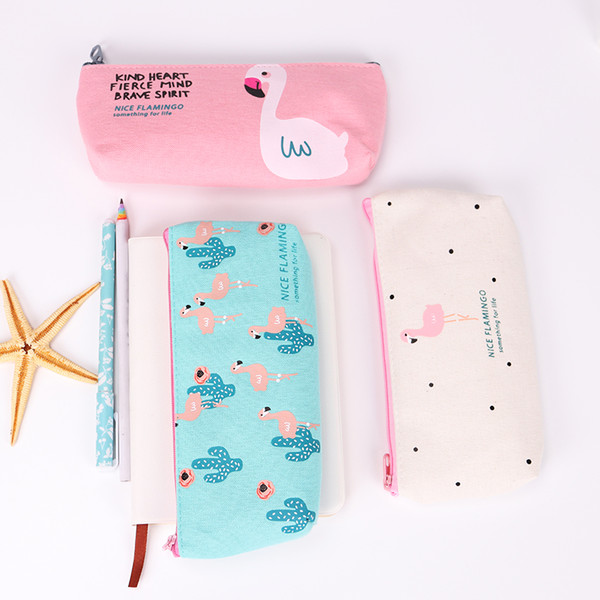 Pencil Cases Stationery 1PC Cute Flamingo Canvas Storage Pen Bag Gifts School Office Pencil Bags Lovelty Pencil Pouch