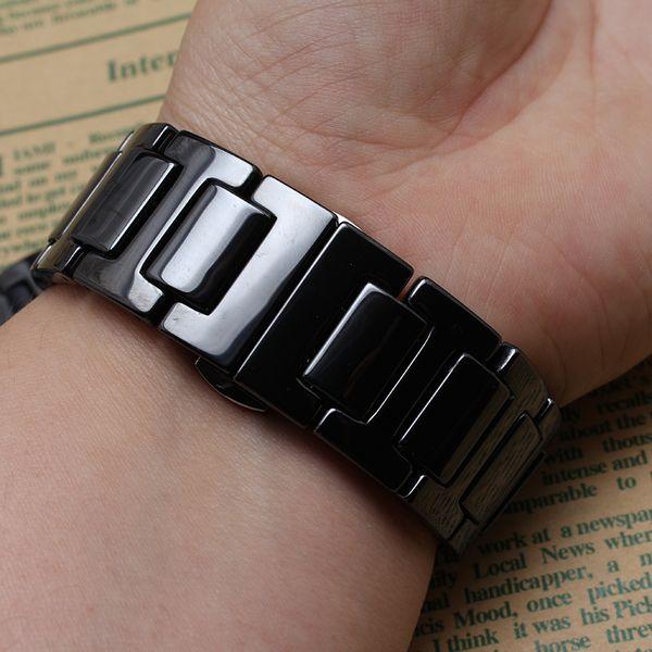 Acheter Nouveau Top Qualité Noir Céramique Watcbands Bracelet Ceinture Bracelet Bande Femmes Hommes 20mm En Céramique Montre Bande Fit Samsung Gear S2