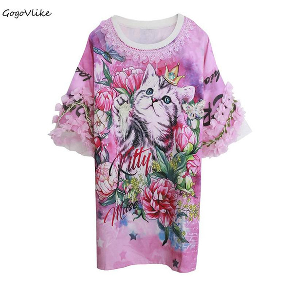 Pink Flower t shirt Cat Butterfly women Top Tees Flare Sleeve 2018 ulzzang Korean Style Clothing Beading summer LT503S30