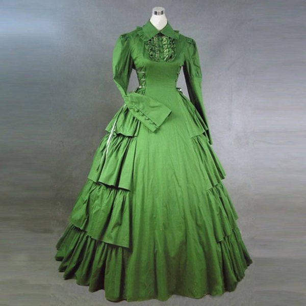 European Court Green Gothic Victorian Historical Party Dress Long ...