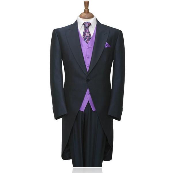 Custom Men Wedding Groom Tuxedos Charcoal Best Man Suit Black Groomsman Men Wedding Suit Bridegroom Suits (Jacket+Pants+Vest)
