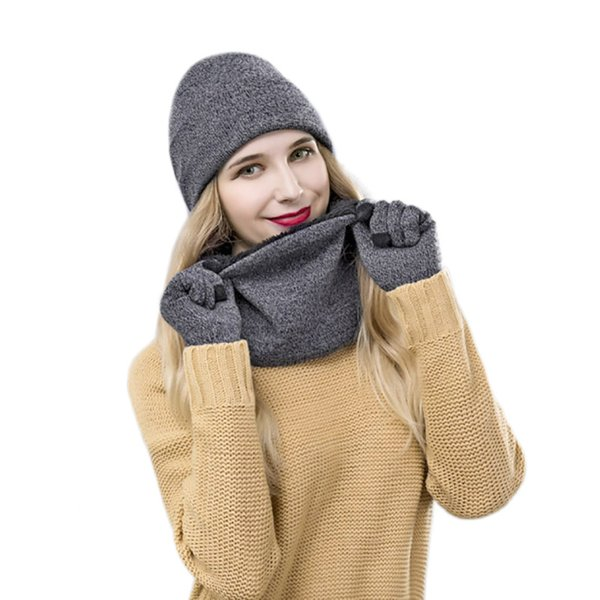 Winter Women Hats Scarves Gloves Kit Fashion Knitted Plus Velvet Hat Scarf Set For Male Female 3 Pieces/Set Beanies Scarf Glove