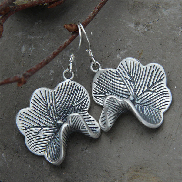 2018 Earings Fashion Jewelry Thai National Wind Restoring Ancient Ways Is The Contracted Lotus Leaf Earrings S925 Prodotti puri