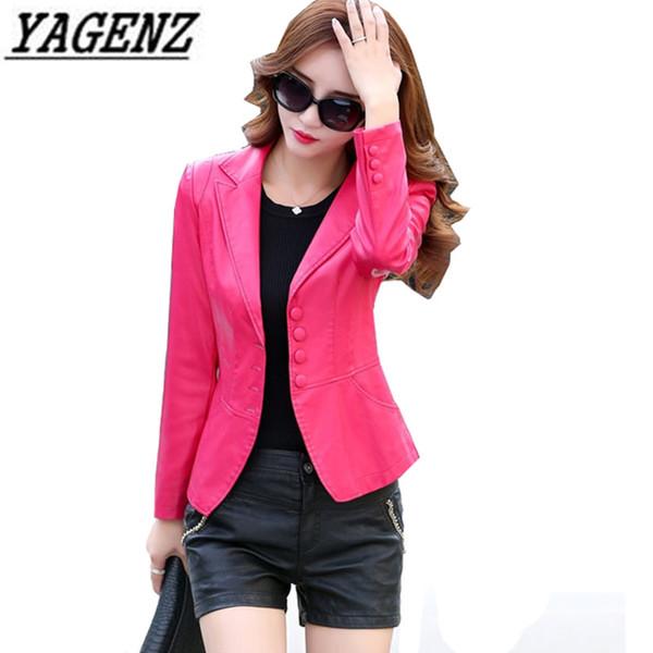 2018 Women PU Leather Jacket Blazer Fashion Slim Long-sleeve EleFemale Coat Big size 4XL Casual Autumn Faux Leather Jacket
