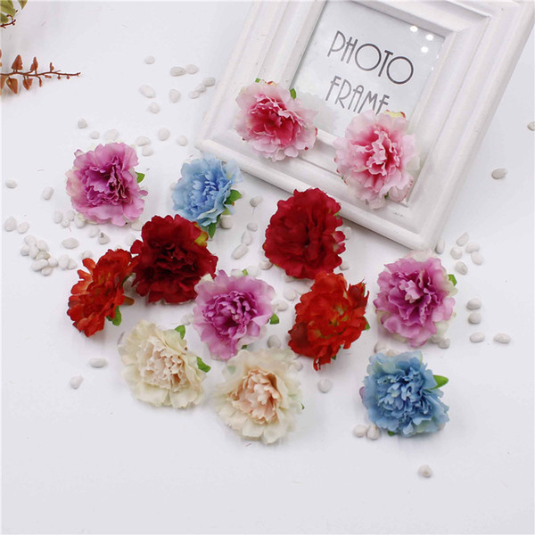 5cm Artificial Carnation Flower Head Artificial Home Decor DIY Events Party Products Wreath Wedding Flower 100pcs/lot