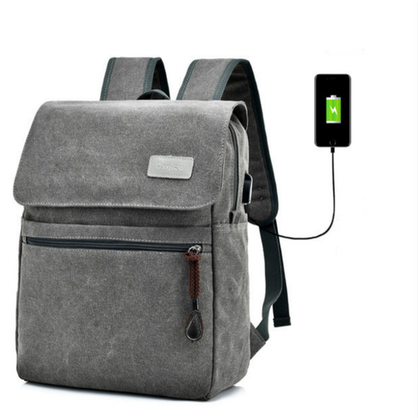men canvas backpack USB charge anti theft backpack travel vintage stylish high quality laptop sac dos