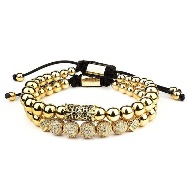 2pcs / set männer armband edelstahl perlen armband männer schmuck charme armbänder für frauen pulseira männer schmuck urlaub geschenke