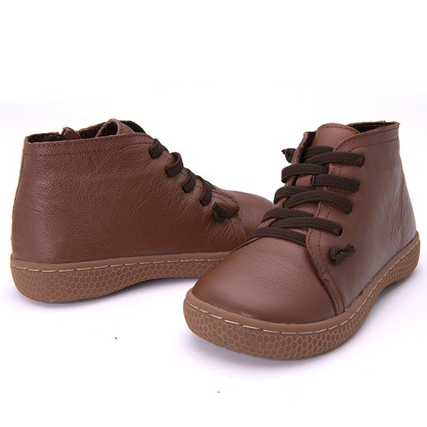 Kahverengi ayakkabı Kış çocuk Hakiki deri kar botları kalınlaşma kız sıcak peluş yumuşak ayakkabılar çocuklar Ayak Bileği Kürk Kar Botları erkek yumuşak alt ayakkabı
