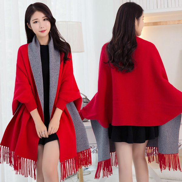 Women Winter Poncho Thick Sleeve Shawls and Wraps for Ladies Pashmina Shawl Winter Scarf Stoles Warm Feminino Ponchos and Capes Y18102010
