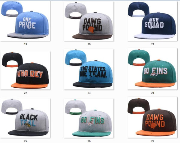 top popular New Caps Football Snapback Hats 2018 Draft Cap All 32 Teams Hats Mix Match Order All Caps in stock Top Quality Hat Wholesale 2021