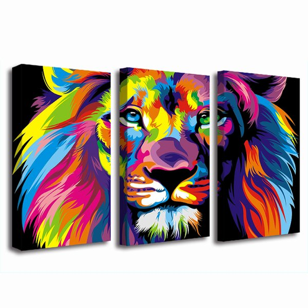 Modern Giclee 3 Piece Dazzle Colour Lion Painting Pictures Abstract Art Print on the Canvas Poster Painting Prints Wall Decor Poster