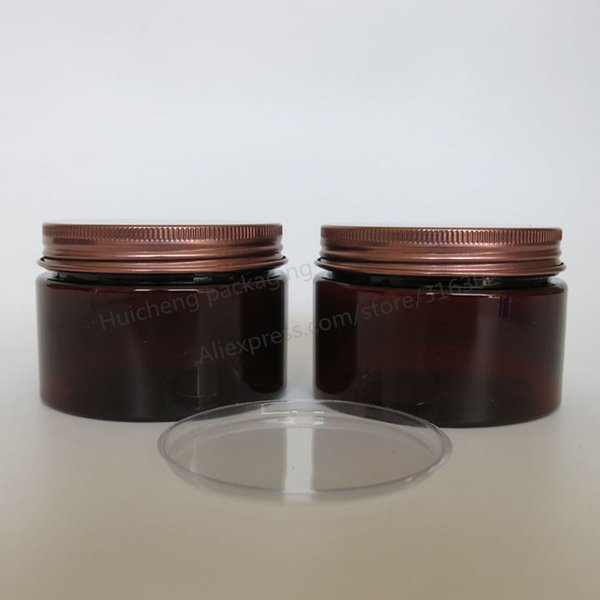 20 x 120 gram Amber Empty Plastic Jar With Bonze Lid Makeup Bottle Cosmetic Packaging Hand Cream Containers Facial mask Jars